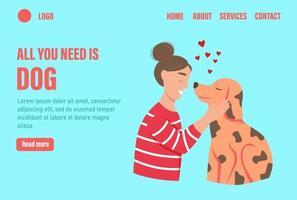 tudo que você precisa é um modelo de vetor de página de destino de cachorro