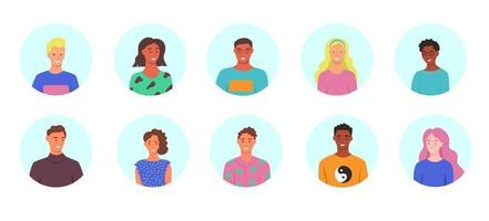 um conjunto de avatares. mulheres e homens de diferentes raças com roupas de verão vetor