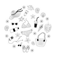 um conjunto de itens fofos de verão em estilo doodle, vetor