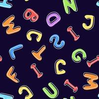 padrão sem emenda de letras multicoloridas em um fundo escuro vetor