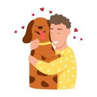 felizes donos de animais de estimação. um jovem abraça um cachorro. vetor