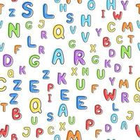 padrão sem emenda de letras multicoloridas em um fundo branco vetor