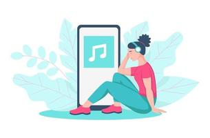uma jovem sentada no chão ouve música com fones de ouvido vetor