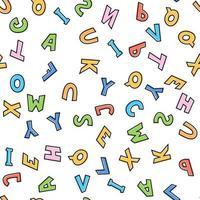 ilustração vetorial. padrão sem emenda de letras coloridas em inglês vetor