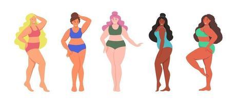 conjunto de mulheres curvas. garotas plus size vetor