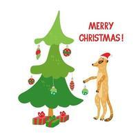pôster com um lindo meerkat decorando uma árvore de natal vetor