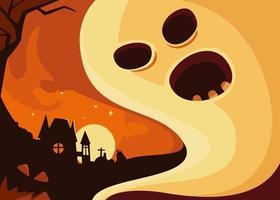 banner com fantasma no fundo do castelo. desenho de cartão postal de halloween. vetor