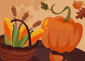banner com cesta de milho e abóbora. cartaz do dia de ação de Graças. vetor