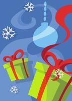 cartaz com caixas de presente. design de cartão postal de Natal em estilo cartoon. vetor