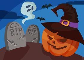 banner com cabeça de abóbora e fantasma. desenho de cartaz de halloween. vetor