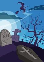 cartaz com bruxa voando sobre o cemitério. desenho de cartaz de halloween. vetor