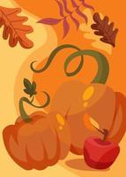 cartaz com abóbora e maçã. design de cartão postal do dia de ação de Graças. vetor