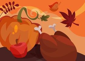 banner com o prato tradicional de ação de Graças. design de cartão postal de férias. vetor