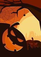 pôster assustador com cabeças de abóbora. desenho de cartaz de halloween. vetor
