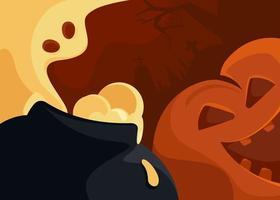 banner abstrato com fantasma e cabeça de abóbora. desenho de cartão postal de halloween vetor