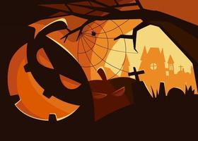 banner assustador com cabeças de abóbora. desenho de cartaz de halloween. vetor