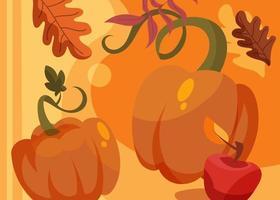 banner com abóboras e maçã. design de cartão postal do dia de ação de Graças. vetor