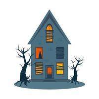 casa assombrada assustadora e janelas quebradas, casa de terror de halloween. vetor