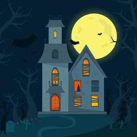 casa assombrada assustadora, casa de terror de halloween. ilustração vetor