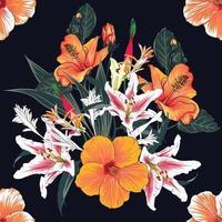 sem costura padrão floral com fundo de flores de hibisco e lírio. vetor