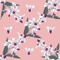 flores de orquídea branca floral padrão sem emenda abstrato. vetor
