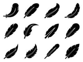 conjunto de ícones de penas - ilustração vetorial. vetor
