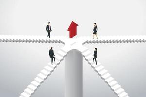 grupo de empresários subindo escadas para a seta vermelha. vetor