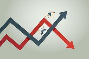 seta para cima e seta para baixo conceito de negociação de lucros e perdas vetor