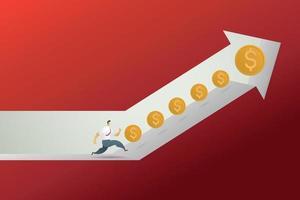 seta para cima e seta para baixo. conceito de negociação de lucros e perdas. vetor