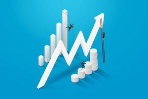 três executivos em busca de sucesso e crescimento. vetor