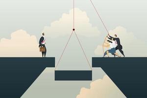 suporte ao trabalho em equipe de negócios ajudando a conectar a ponte para o investimento vetor