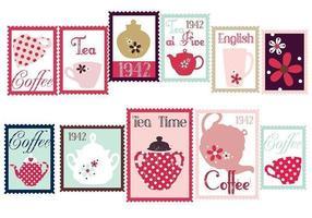 Pacote de vetores de selo de café e chá