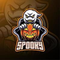 desenhos de fantasmas assustadores e mascotes com logotipo de abóbora vetor