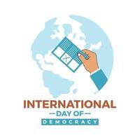dia internacional da democracia mostrando o boletim de voto uma folha no mundo vetor