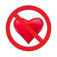 Ban amor coração. Símbolo do proibido e pare o amor. Ilustração vetorial - vetor