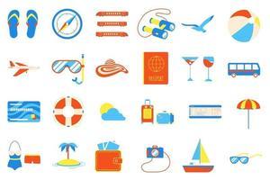 conjunto de design de estilo plano de elementos de férias férias praia. vetor