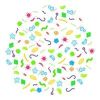 microorganismos bacterianos, germes e vírus padrão de círculo colorido. vetor