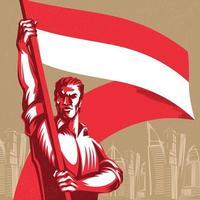 homem segurando uma bandeira da Indonésia com ilustração vetorial de orgulho vetor