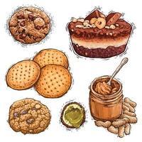 ilustração em aquarela de bolo, manteiga de amendoim, pistache e biscoito vetor