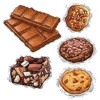 chocolate, biscoito e bolo com nozes sobremesa ilustração em aquarela vetor