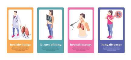 conjunto de banners de inspeção pulmonar vetor