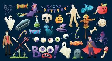 conjunto colorido assustador de halloween vetor