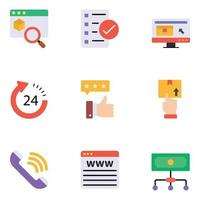 conjuntos de ícones planos de comércio eletrônico vetor