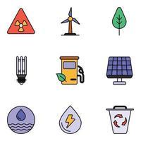 conjuntos de ícones de linhas coloridas de natureza e ecologia vetor