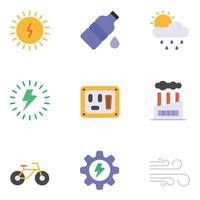 conjuntos de ícones planos de natureza e ecologia vetor