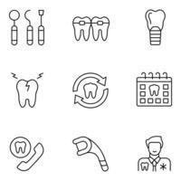 conjuntos de ícones de linha fina odontologia vetor