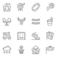 ícones de linha fina de relação familiar vetor