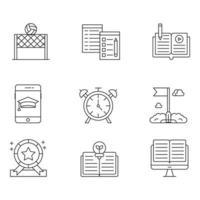conjuntos de ícones de linha fina educação vetor