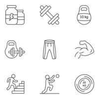 ícones de linha fina de atletismo pesado vetor
