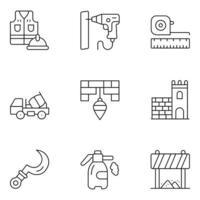 ícones de linha fina do dia do trabalho vetor